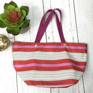 Fossil Striped Coated Canvas Medium Size Tote Bag
